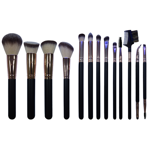 Essential 13pcs high quality makeup brush set black wooden handle natural synthetic bristles