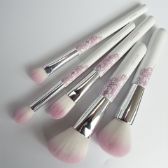 5pcs makeup brush set  wooden handle natural synthetic hair