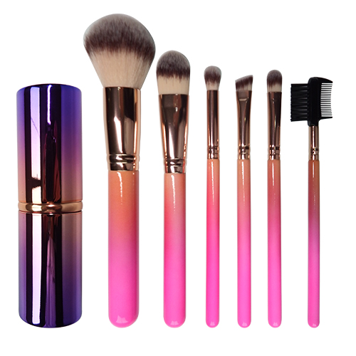 New Arrival 7pcs makeup brush set wooden handle natural synthetic hair