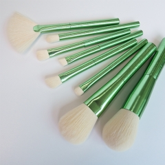 Newest 8pcs makeup brush set with dark green aluminum handle,white synthetic hair