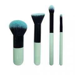 4 pieces travel makeup brush set with cyan wooden handle natural synthetic hair silky and soft