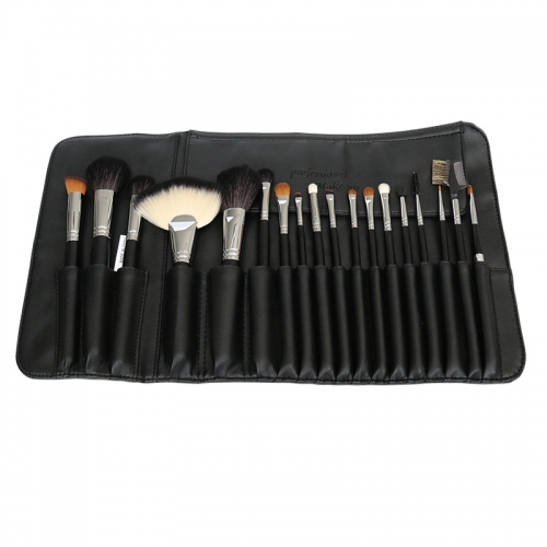 Cosmetic makeup brush set 18 pcs black wooden handle with high quality goat hair