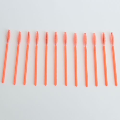 Wholesale Disposable mascara wand brush  eyelash brush makeup applicators orange