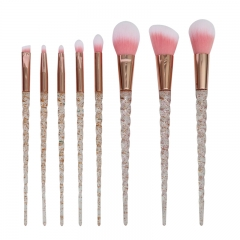 8pcs makeup brush set glitter crystal handle synthetic hair